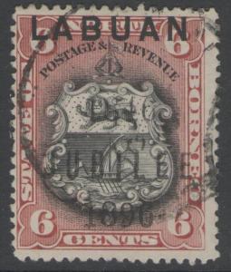 LABUAN SG87 1896 6c BLACK & BROWN-LAKE USED