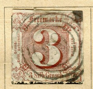 GERMANY THURN & TAXIS; 1862 early classic Imperf issue used 3g. value