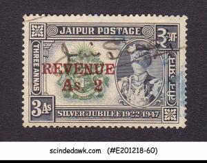 JAIPUR STATE - 3a REVENUE STAMP OVERPRINTED - 1V - USED