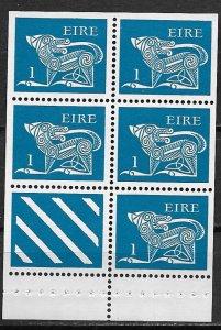 1971-75 Ireland 291c  1p Blue Ox booklet pane of 5 + label MNH
