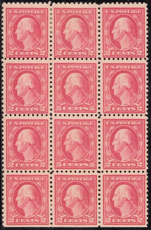 #467 5¢ PERF 10 DOUBLE ERROR BLK/12 BOTH ERRORS VF-XF OG NH W/ PSAG CERT WL3831