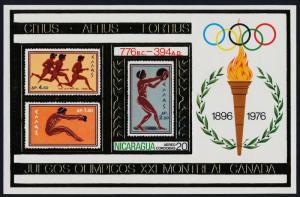 Nicaragua s/s MNH Olympic Games, Stamp on Stamp