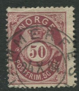 Norway - Scott 30 - Post Horn & Crown - 1877 - Used- Single 50s Stamp