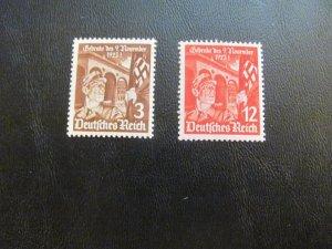 GERMANY 1935 MNH SC# 467-8 NAZI FLAG SET $20 (113)