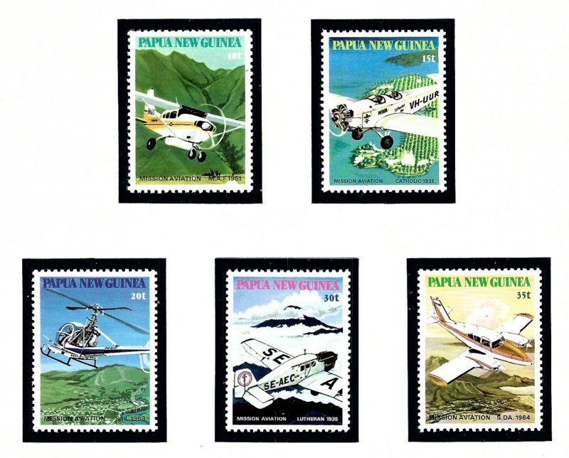 Papua New Guinea 540-44 MNH 1981 Planes of Missionary Organizations