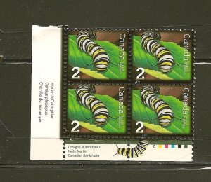 Canada Insects Caterpillar 2 Cent Issue Inscription Corner Block of 4 MNH