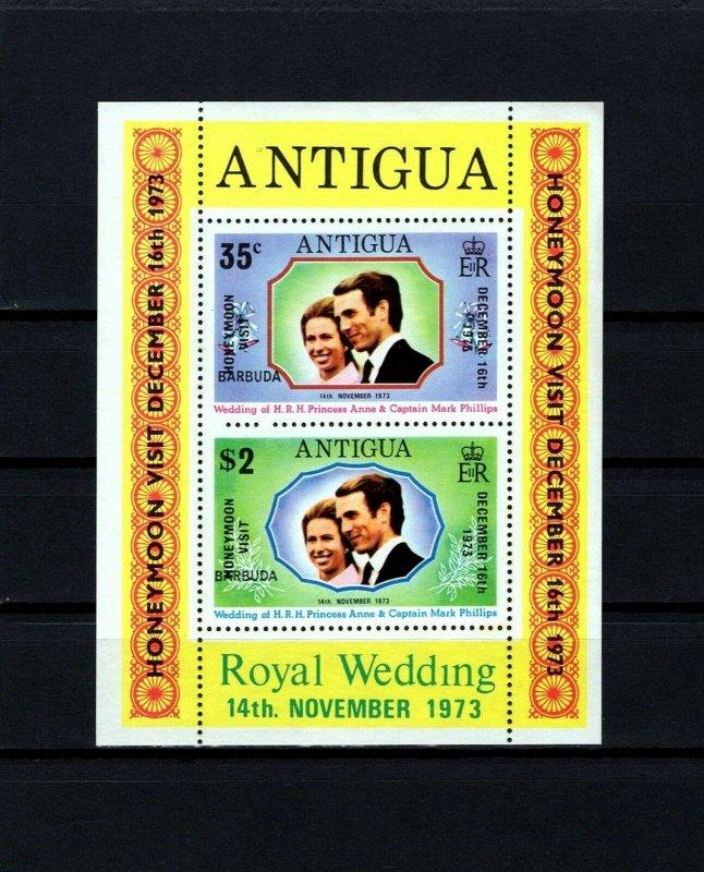 BARBUDA - 1973 - WEDDING - ANNE - HONEYMOON - OVPT - MINT - MNH S/SHEET!