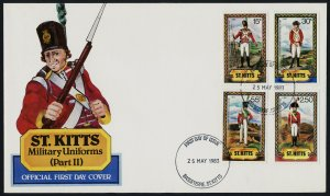 St Kitts 68,70,2,4 on FDC - Military Uniforms