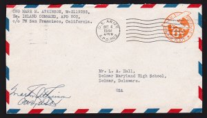 SCOTT #UC3 BORDER SAN FRANCISCO CA APO 502 (NEW CALEDONIA) AIR MAIL 1944