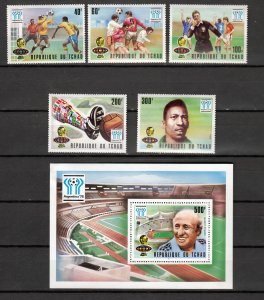 Z2921 1977 & 8 chad mh set + mnh s/s #341-6,359-64 ovpt,s sports, 2 scans