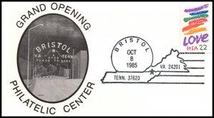 US Grand Opening Bristol,TN Philatelic Center 1985 Cover