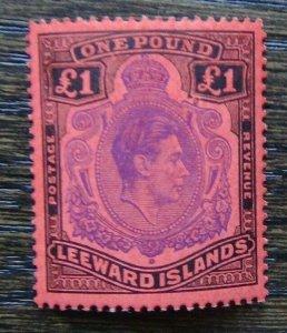 Leeward Islands 1938 - 1951 £1 Violet & Black on Scarlet VLMM SG114c