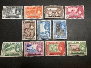 Malaya -- Pahang Scott 72-82 Mint OG CV $42.25