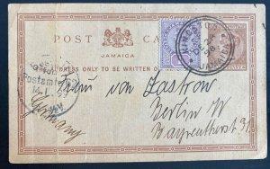 1898 Kingston Jamaica Postal Stationery Postcard cover To Berlin Germany