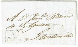 Salvador 1823 Zacatecoluca boxed cancel on cover to Guatemala
