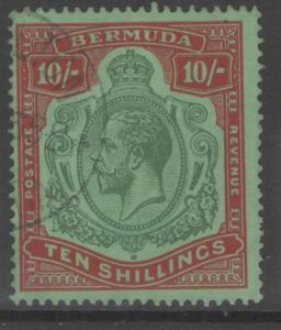 BERMUDA SG92g 1930 10/= GREEN & RED/DEEP EMERALD FINE USED