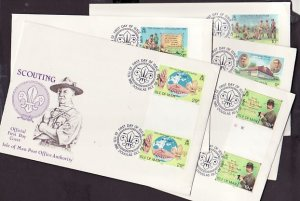 Isle of Man, Scott cat. 207-211. Scouts, Gutter Pairs issue. First day cover. ^