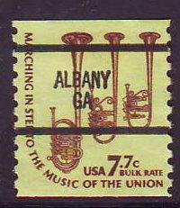 Albany GA, 1614-87 Bureau Precancel, 7.7¢ coil Saxhorns