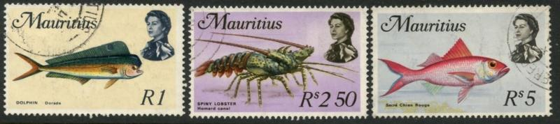 MAURITIUS Sc#353-355 1969 QEII Marine Life High Values Fine Used