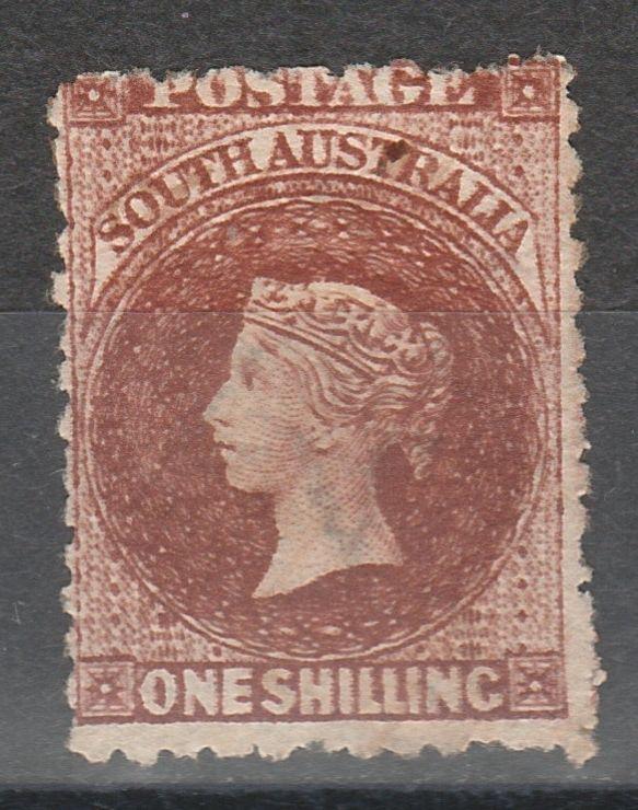 SOUTH AUSTRALIA 1876 QV 1/- RED BROWN WMK BROAD STAR PERF 11.5
