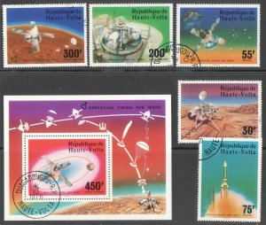 UPPER VOLTA SPACE MARS 5 STAMPS AND SOUV SHEET 1976 CTO R2021400