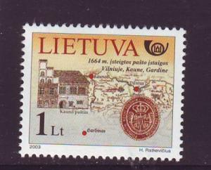 Lithuania Sc753 20003 Kaunus Grodno Post Route stamp NH