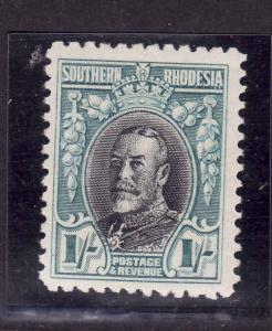 Southern Rhodesia-Sc #26a-unused,hinged 1sh turq bl & blk KGV-1936-