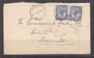 QUEENSLAND, 1904 Tatt's cover, TAMBO cds., 2d.(2), TPO on reverse,  damaged.
