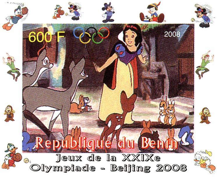 BENIN SHEET DELUXE IMPERF DISNEY OLYMPIC GAMES BEIJING 2008