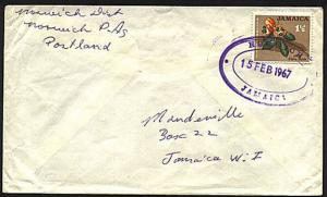JAMAICA 1967 cover with NORWICH TRD