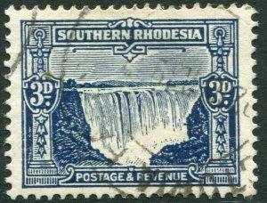 SOUTHERN RHODESIA-1931-37 3d Deep Ultramarine Sg 18 FINE USED V35950