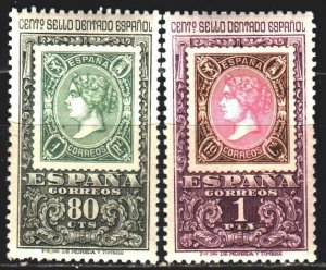 Spain. 1965. 1581-82 from the series. Stamps on stamps. MNH.