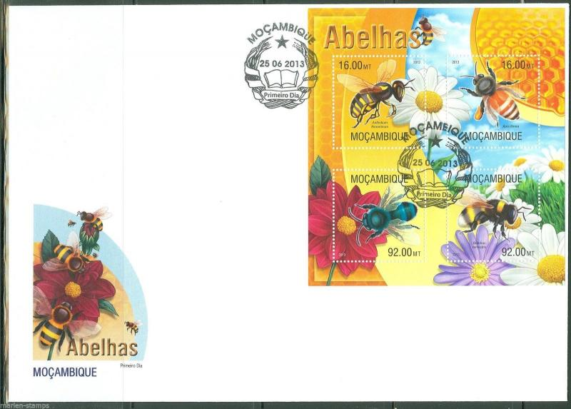 MOZAMBIQUE  2013 BEES  SHEET FIRST DAY COVER