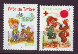 J20373  jlstamps 2002 france set mnh #2878-9 stamp day cartoon