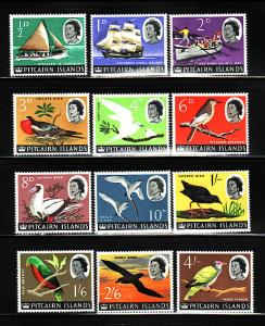 Pitcairn Islands 39-50 MH Queen Elizabeth II, Ships, Birds