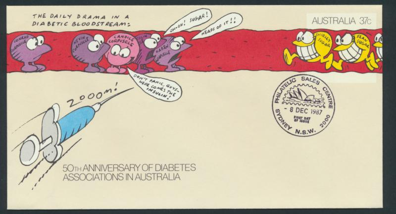 Australia PrePaid Envelope 1987 -  50th Anniv Diabetes Associations