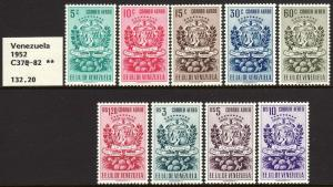 1951 Venezuela Arms of Tachira & Agricultural Products set MNH Sc# C374 / C382