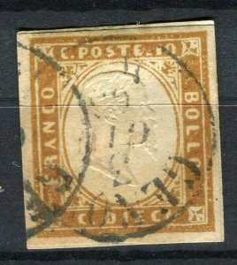ITALY; SARDINIA 1855 early Imperf classic issue fine used Shade of 10c. value