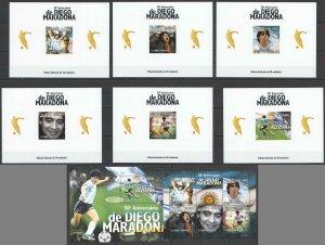 L0437 2010 SAO TOME & PRINCIPE FOOTBALL MARADONA #4400-4+BL758+6CARDBOARD BL MNH