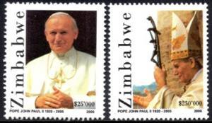 Zimbabwe - 2006 Pope John Paul II Set MNH** SG 1185-1186