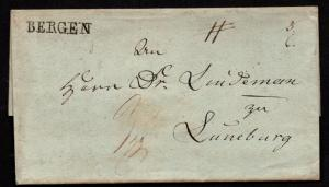 $German Stampless Cover, Bergen to Luneburg