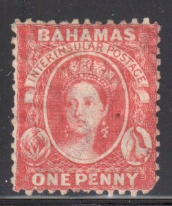 Bahamas #12 Mint H - has a natural black spot