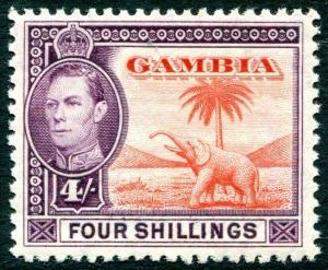 GAMBIA-1938-46  4/- Vermilion & Purple Sg 159 MOUNTED MINT V30758
