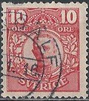 Sweden 80 (used) 10ö King Gustav V, carmine (1910)