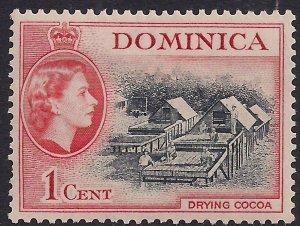 Dominica 1954 - 62 QE2 1ct Black & Vermilion Drying Cocoa MM SG 141 ( F735 )