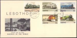 Lesotho, Worldwide First Day Cover, Trains