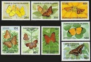 Turks & Caicos 826-833,MNH.Michel 910-917. Butterflies 1990.