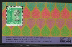 Hong Kong Sc 683 1993 $10 Bangkok 1993 stamp souvenir sheet mint NH