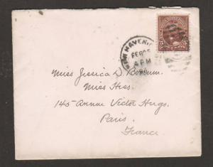US Sc 223 on 1896 Transatlantic Cover New Haven, Conn. to France