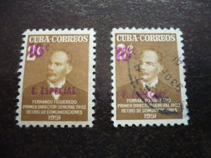 Stamps - Cuba - Scott# E15 - Mint Hinged & Used Set of 2 Stamps Overprinted